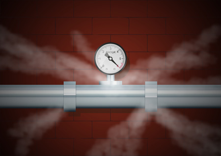 Pipe with manometer of anger in fog on wall background. Vector illustration, eps10