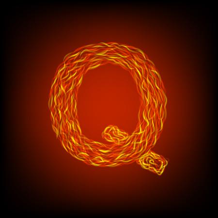 Fire letter Q. Vector illustration, eps10