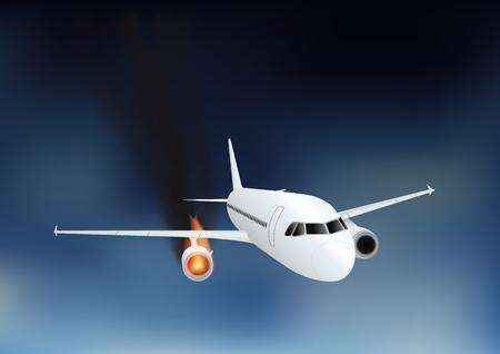 Falling damaged plane in fire. Vector illustration, eps10
