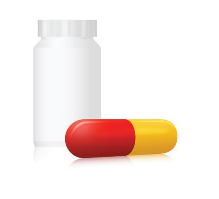 Pill bottle and capsule. Vector illustration Ilustração
