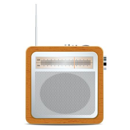 Square retro radio. Vector illustration Ilustração