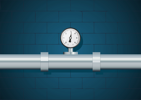 Pipe with manometer on wall background. Vector illustration, eps10