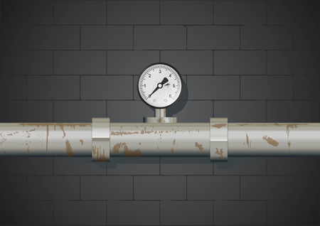 Rusty pipe with manometer on wall background. Vector illustration, eps10