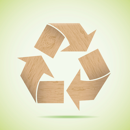 Wooden recycle icon. Vector illustration