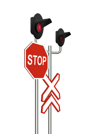 Isometric light railway and the sign of Stop. Vector illustration, eps10