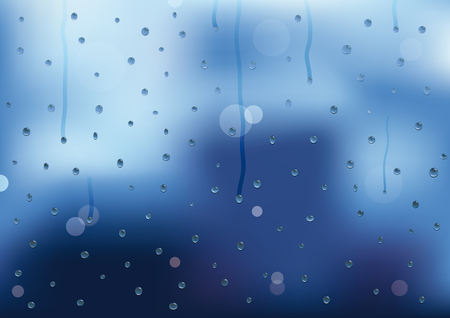 Rain drops and drips on a window pain. Vector illustration