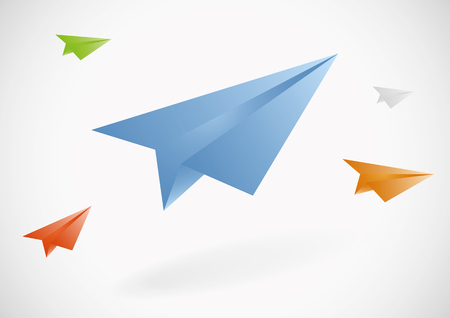 Colorful paper airplanes set. Vector illustration, eps10