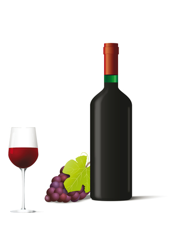 Bottle and glass with red wine and berries. Vector illustration Ilustração