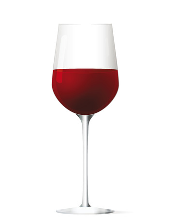 Glass of red wine. Vector illustration