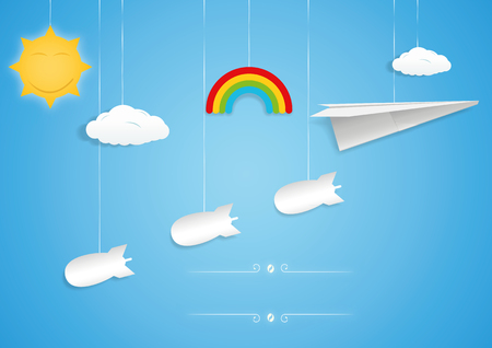 Paper plane and bombs toys