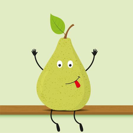 Funny cartoon green pear. Vector illustration, eps10