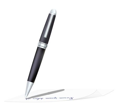 pen write text on paper. Vector illustration Ilustração