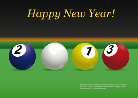 Pool balls. New year card. Vector illustration