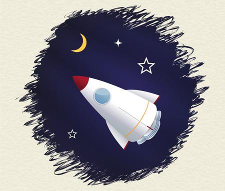 Toy rocket background. Vector illustration Banco de Imagens - 102882847