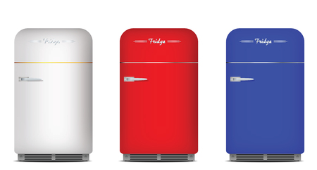 Set of retro refrigerators. White, red and blue colors