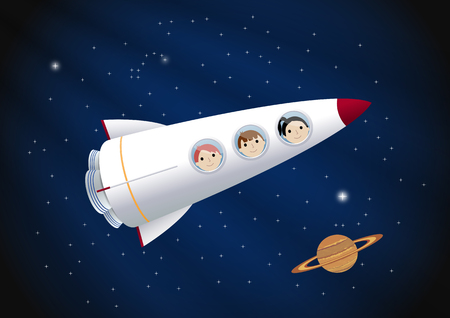 Toy rocket background. Vector illustration