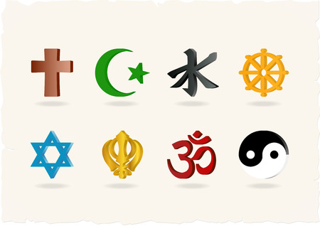 Religion Icons. Vector illustration, eps10
