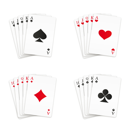Royal straight flush playing cards set. Vector illustration