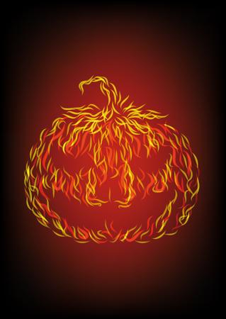 Halloween pumpkin in fire. Vector illustration, eps10