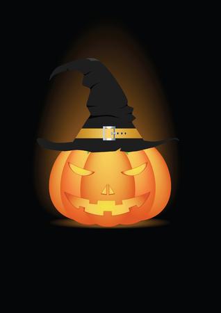 Halloween pumpkin in witch hat on black background