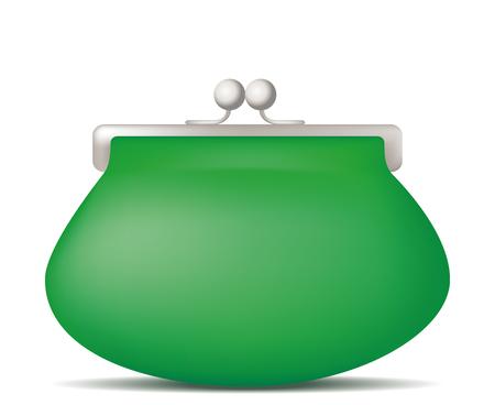 Green purse. Vector illustration