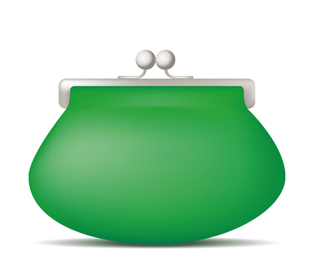 Green purse. Vector illustration