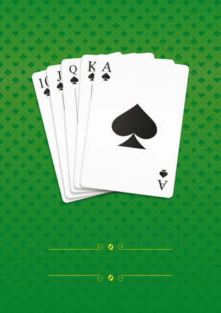 Royal straight flush playing cards poker. Vector illustration, eps10