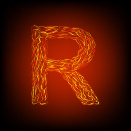 Fire letter R. Vector illustration, eps10