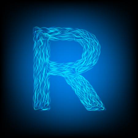 Water letter R. Vector illustration Ilustração
