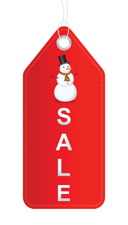 Snowman with sale label. Vector illustration