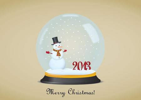 Christmas Snow Globe With Snowman. Vector illustration