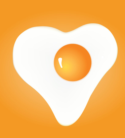 Heart shaped fried egg on yellow background. Vector Çizim