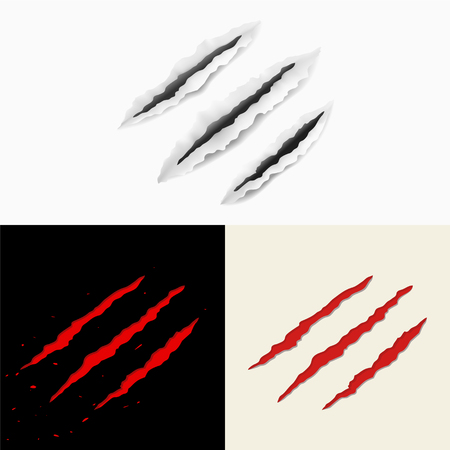 Set of claw scratches. Vector illustration, eps10