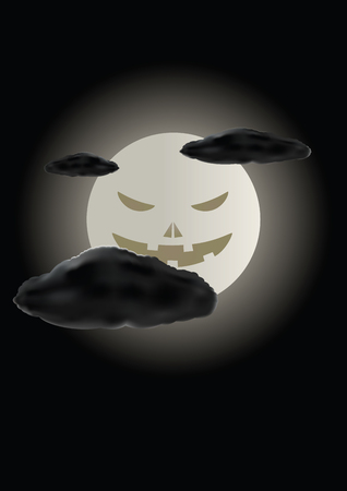Scary face of halloween moon. Vector