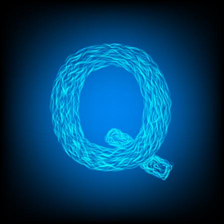 Water letter Q. Vector illustration Ilustração