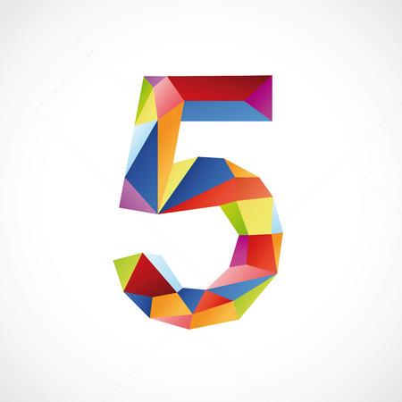Varicolored number 5. Vector illustration