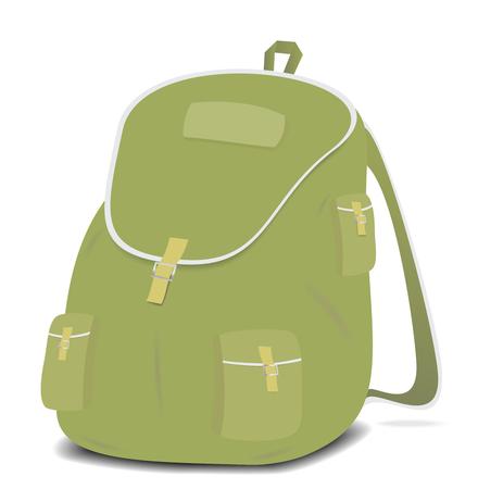 Schoolbag backpack on a white background. Vector illustration