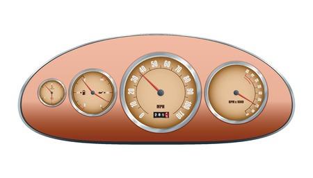 Retro car dashboard. Vector illustration Illustration