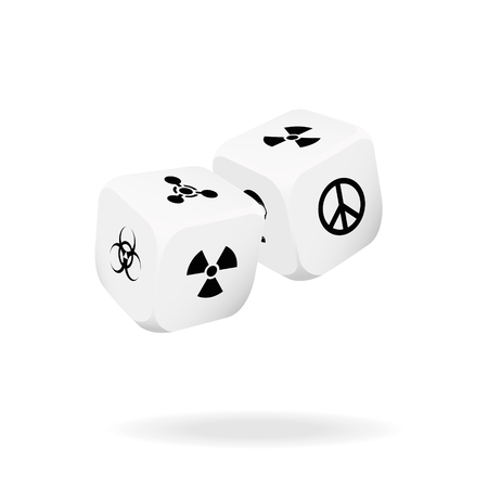 Two white dice  of war. Vector illustration