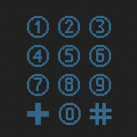 Set of digital numbers. Vector illustration