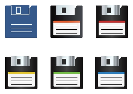 Diskette icons set 일러스트