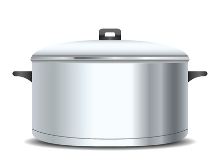 A stainless pan isolated on a white background Illustration