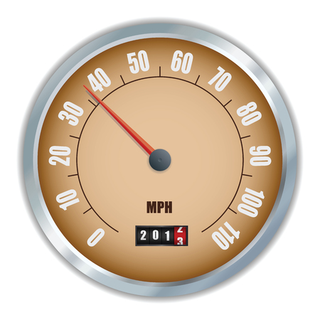 Vintage speedometer with 2013 counter in vector Çizim
