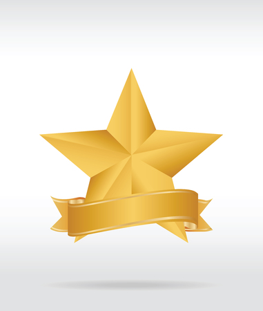 Gold star label. Vector illustration