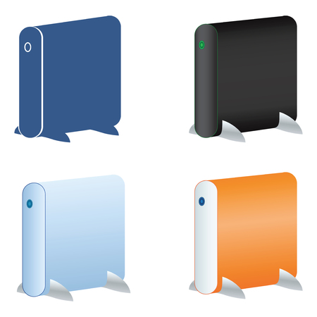 External hard drive icons set