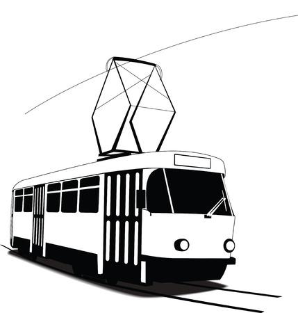 Klassische tschechische Straßenbahn im Vektor. Schwarzweiss-Skizze