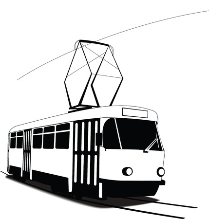 Classic Czech tramway in vector. Black and white sketch