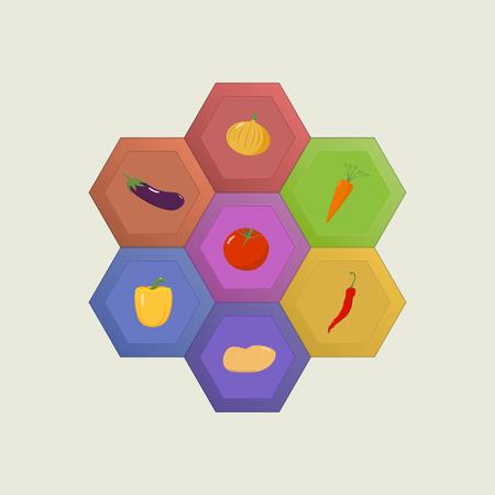 Set of vegetable icons on honey comb background Ilustração
