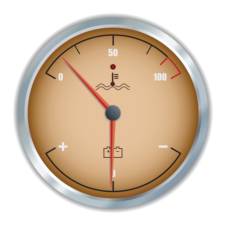 Retro motor temperature and voltage gauge. Vector illustration