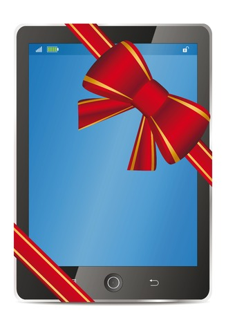 Tablet pc with gift red bow and ribbon. Vector illustration Stock Photo